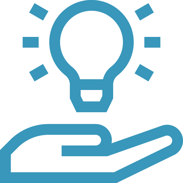 in icon of a hand with a lightbulb above it
